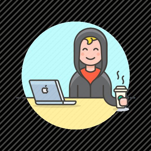 coffee, computer, device, hacker, internet, man, programming, technology icon