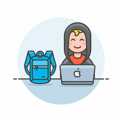 backpack, computer, device, hacker, internet, man, programming, technology icon