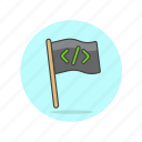 achievement, computer, flag, html, internet, programming, technology icon
