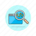 code, computer, html, magnifier, programming, search, technology icon