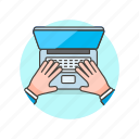 computer, device, hand, internet, macbook, programming, technology, type icon