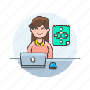 computer, device, internet, mac, osx, programmer, technology, woman icon