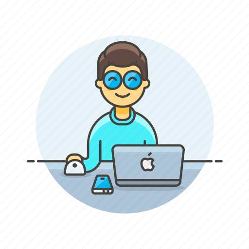 apple, computer, device, internet, man, osx, programmer, technology icon