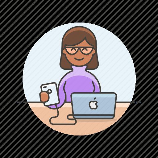computer, device, internet, mac, programmer, technology, woman icon