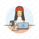 computer, device, internet, mac, programmer, technology, woman icon