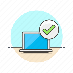 approve, check, computer, device, internet, monitor, programming, technology icon