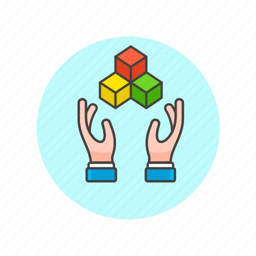 code, computer, cube, edit, hand, play, programming icon