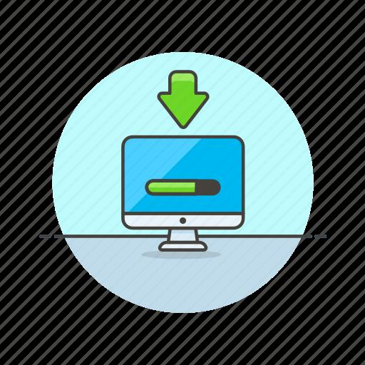 computer, device, download, imac, internet, programming, progress, technology icon