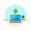 arrow, computer, device, download, internet, macbook, progress, technology icon