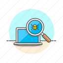 bug, computer, device, finding, macbook, programming, zoom icon