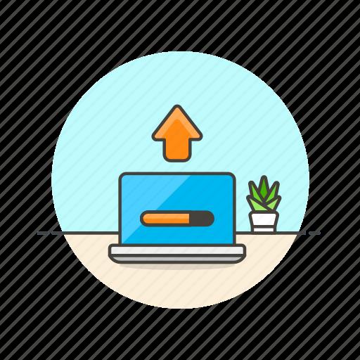 computer, device, internet, macbook, programming, progress, technology, upload icon