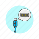 c, cable, computer, device, programming, technology, type, usb icon