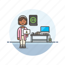 computer, device, html, internet, programmer, technology, web, woman icon