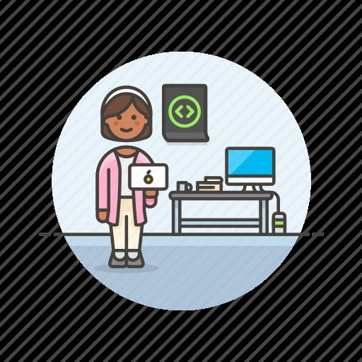 computer, device, html, internet, programmer, technology, web, woman icon