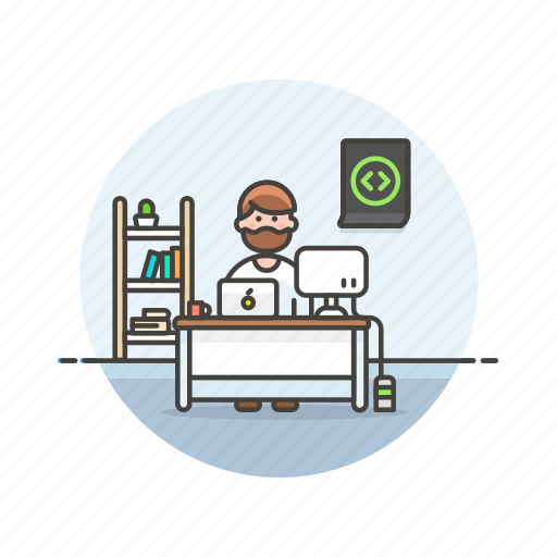 computer, device, html, man, programmer, technology, web, workspace icon
