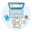 computer, desktop, device, flowchart, internet, office, programmer, technology icon
