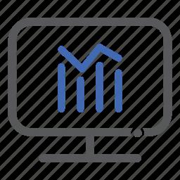 chart, computer, graph, progress icon
