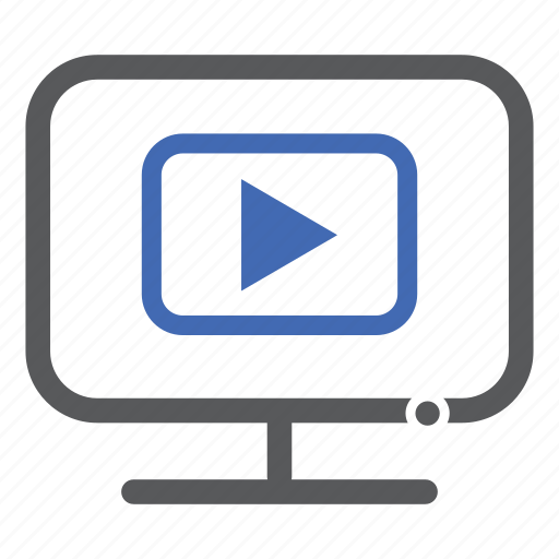 computer, play, streaming, video icon