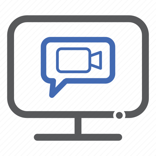 call, chat, computer, video icon