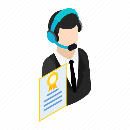 call, center, contact, headset, isometric, operator, support icon