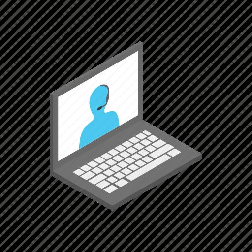 computer, design, isometric, laptop, operator, support, web icon