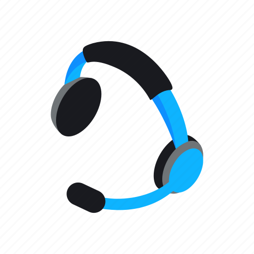 call, customer, headset, isometric, microphone, service, support icon