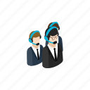 assistance, headset, isometric, online, operator, service, team icon