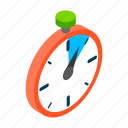 clock, isometric, quick, stop, stopwatch, timer, watch icon