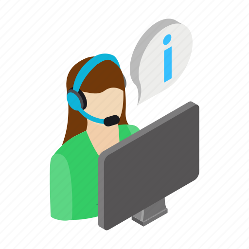 call, center, headset, help, isometric, operator, support icon