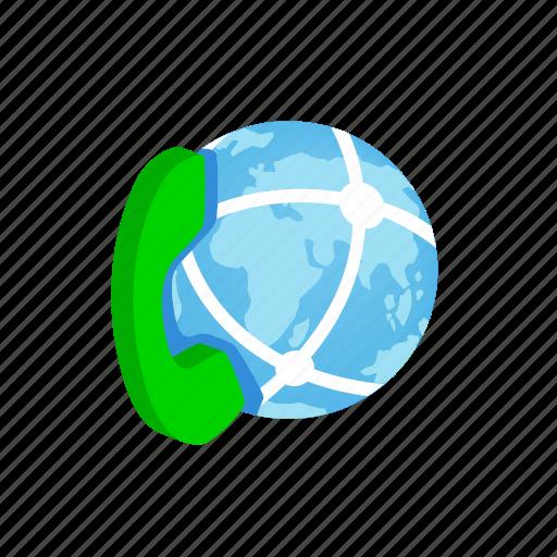 communication, earth, global, globe, isometric, phone, planet icon