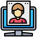 computer, desktop, device, human, man, monitor, technology icon