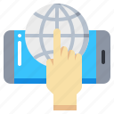earth, gesture, global, screen, smartphone, touch icon