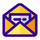 document, email, inbox, mail, open icon