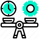 balance, clock, gear, scale, time icon