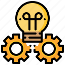 creative, gear, generate, idea, innovation, lightbulb icon