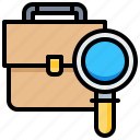 bag, business, find, magnify, search, suitcase icon
