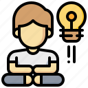 human, idea, lightbulb, man, meditation, relax icon