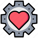 gear, heart, love, passion icon