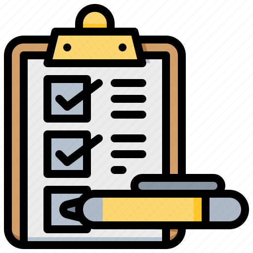 checklist, document, file, pen, report icon