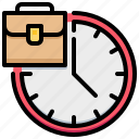 bag, clock, routine, suitcase, time icon