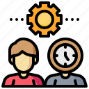 clock, gear, human, man, time, wisely icon