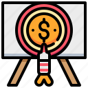 arrow, coin, dollar, money, target, work icon