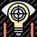 focus, target, goal, solution, development