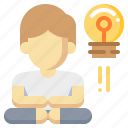 human, idea, lightbulb, man, meditation, relax icon