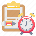 clock, document, pencil, report, task, time icon