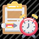 clock, document, pencil, report, task, time