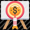 arrow, coin, dollar, money, target, work icon