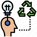 brainstorming, creativity, ideas, interface, people, recycling icon