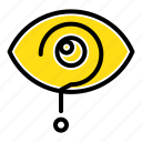 curious, exclamation, eye, knowledge, mark icon