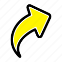 arrow, right, up icon